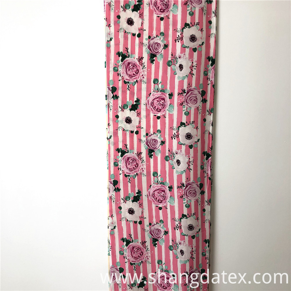 Rayon Print Stripe And Flower Design