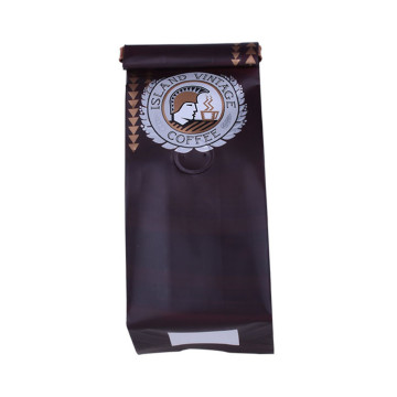 New Design Large Eco Kraft Paper Zipper Flat Bottom Coffee Bag with Valve