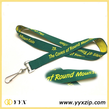 Printing Yellow Logo Green Tape Lanyard For Exhibition