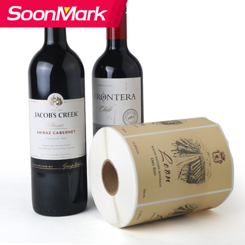 Waterproof Custom sticker wine bottle label printing