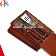 BBQ Utensil Tool Kit Set in Wooden Box