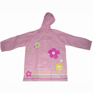 Children's pink PVC raincoat