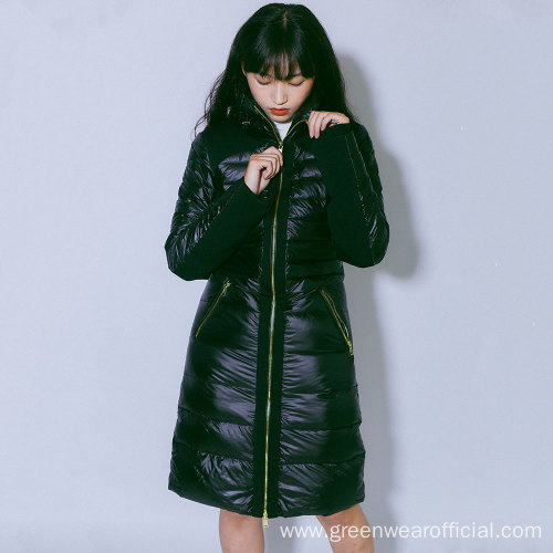 Women`s 100% Nylon long down jacket