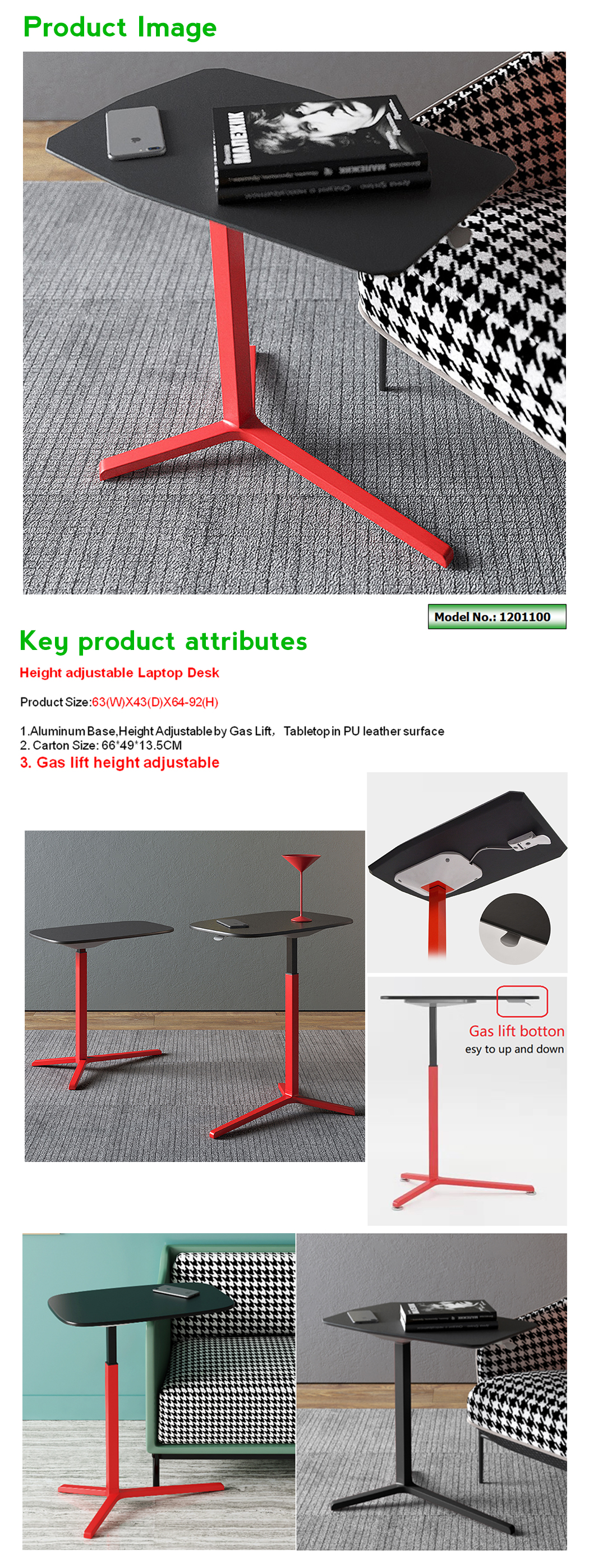 one touch height adjustable overbed table