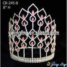 Wholesale Pink Crystal 8 Inch Pageant Tiaras