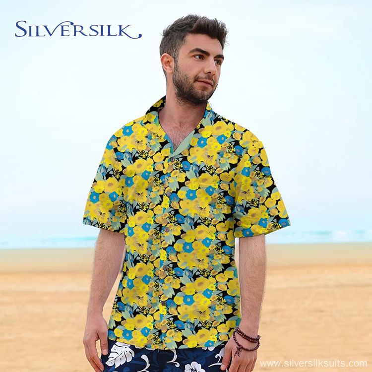 Custom Short Sleeve Casual Mens Blouse Printed Shirt