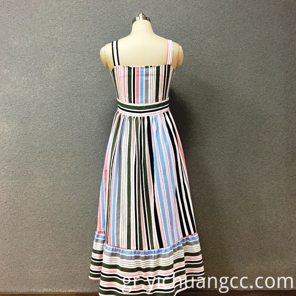 Women's cotton colored strip long dress
