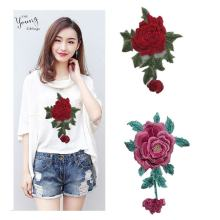 Custom 3d rose embroidery cartoon Iron on Patch