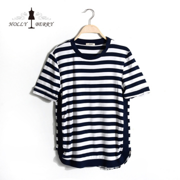 New Stylish Autumn Short Sleeve Striped Custom Sweatshirt