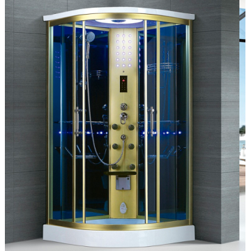 One Person Steam Shower Room with Gold Frame