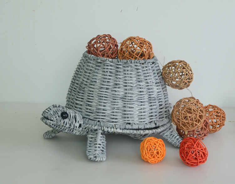 grey rattan handicraft tortoise decoration pot-5