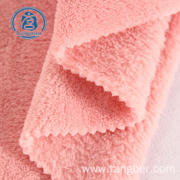 Brushed Knit 100% Polyester Coral Fleece Fabric