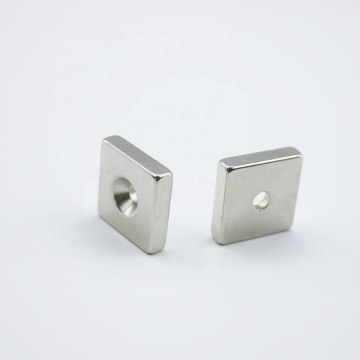 Neodymium square magnet with countersunk  hole