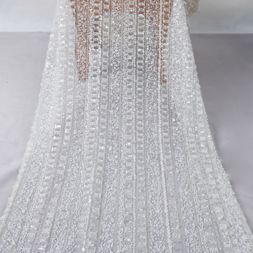 white sequin beaded embroidery fabric mesh lace fabric