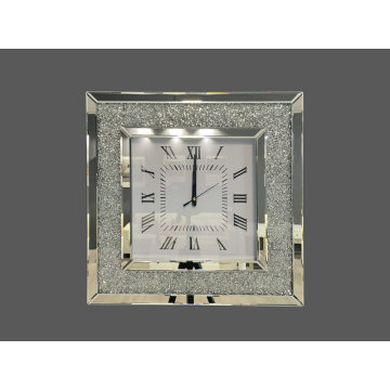 Square mirrored glitter clock