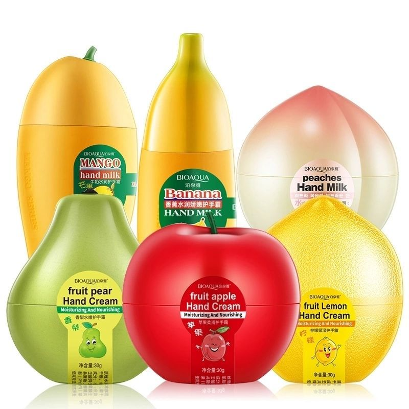 BIOAQUA Fruit Hand Cream Banana Peach Pear Lemon Mango Cream Moisturizing Anti Crack Hand Cream