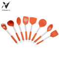 Silicone Cooking Utensil Set With Stainless Steel Handle