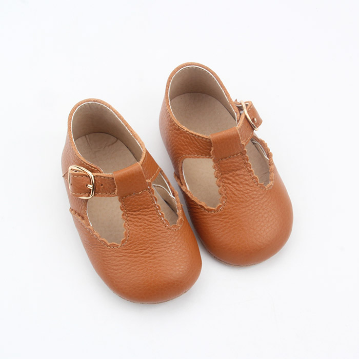 Leather Lace up Tbar baby Girl Dress Shoes