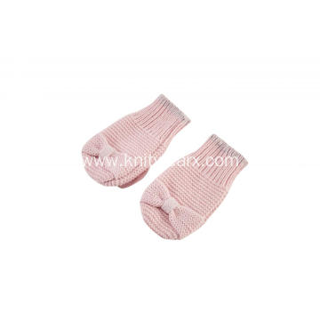 Girl's Knitted Rib Opening Bowknot Mitten Gloves
