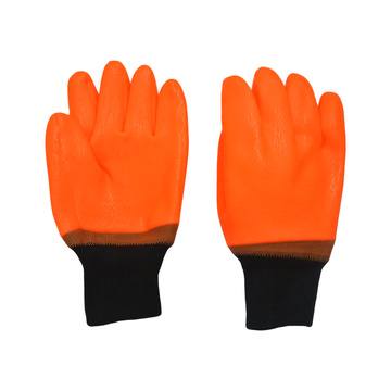 Fluorescent Orange .Sandy Finish PVC Glove
