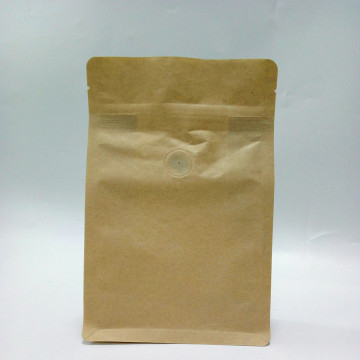 Kraft Paper Coffee Bag Flat Bottom Pouch