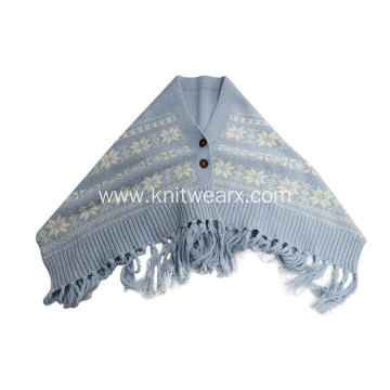 Girl`s Knitted Jacquard Button Wrap Warm Scarf