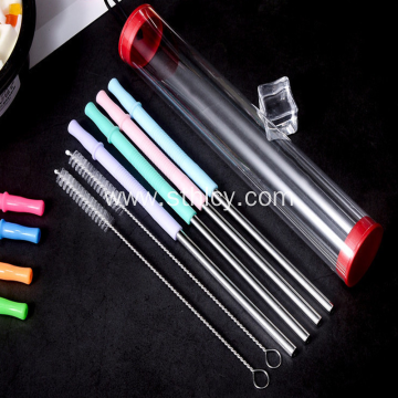 New Silicone Stainless Steel Straws