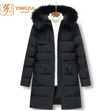 Winter New Men's Long Warm Hooded Cotton Coat