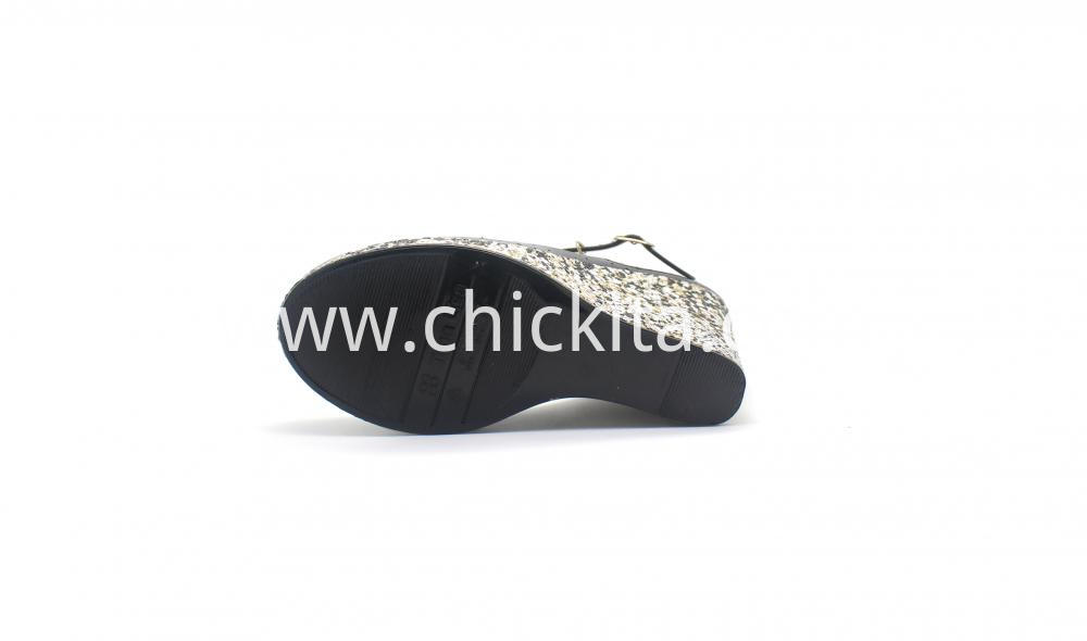 Womens Medium Shining Wrapped Pvc Wedge