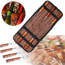 5 Pcs Stainless Steel U-Shaped Barbecue Brazing Fork Needle Barbecue Grilling Skewers Metal Skewer Double Prongs BBQ Tools