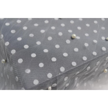 100%Polyester White Mesh Fabric With Lulu And Flocking