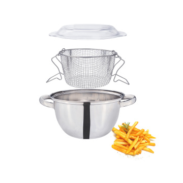 Stainless steel french fries pot with basket