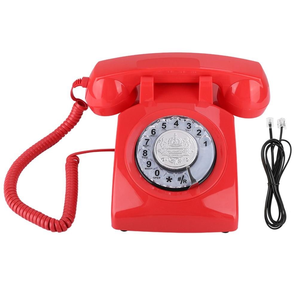 Vintage Phone Retro Landline Telephone Rotary Dial Telephone Desk Phone Corded Telephone Landline for Home Office High Quality