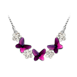 Women Pendant Necklace With Butterfly And  Flower
