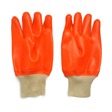 White Knit Wrist.Fluorescent Single Dipped PVC Glove