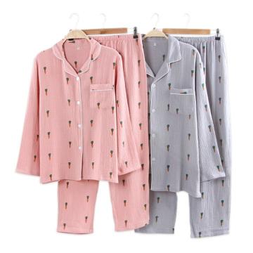 100% Crepe Cotton family pajamas sets women men and child Fresh carrots 100% cotton couples casual Long sleeve women sleepwear