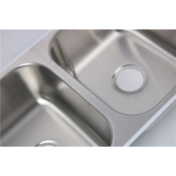 Morden Stainless Steel 50/50 under-mounted basin for hote Kitchen