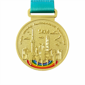 Metal running gold award medals