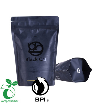Custom printed 100% biodegradable plastic packaging bags with zipper for coffee