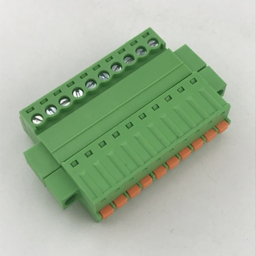 pluggable male and female push button terminal block