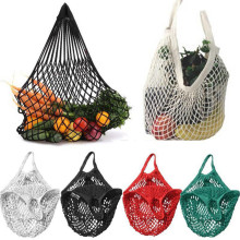 1PC Reusable Fruit Shopping Green Shopping Bag String Grocery Shopper Tote Cotton Woven Net Bag Net Pocket