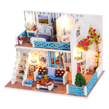 CUTEBEE DIY Dollhouse Wooden doll Houses Miniature Doll House Furniture Kit Casa Music Led Toys for Children Birthday Gift A68D