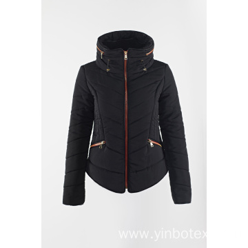 black padding coat with stand collar for Ladies