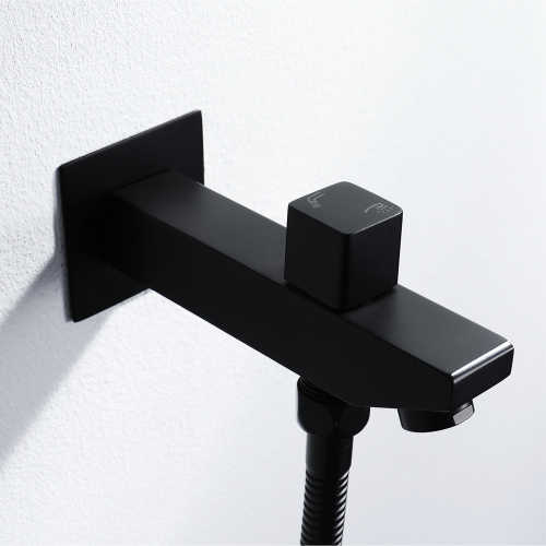 wall mount Black thermostatic rain bathroom shower faucet