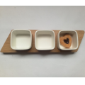 Wood breakfast tray with square ceramic bowl