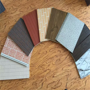 Decorative metal sandwich siding panel for exterior wall