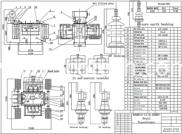 800kva transformer drawing