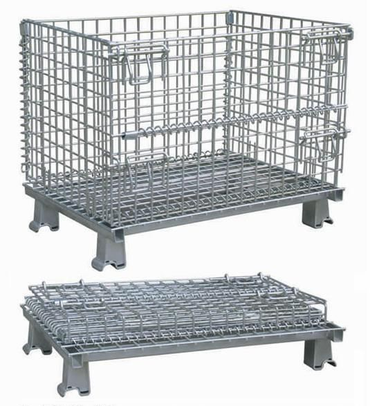 Foldable galvanized wire mesh container