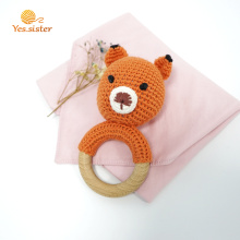 Natural Baby Crochet Wooden Fox Teething Ring