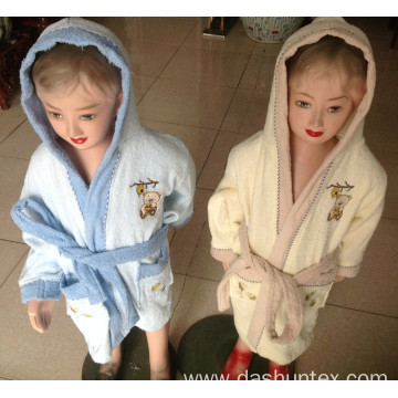 100% cotton terry bathrobe for children with embroidery